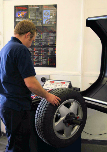 Wheel balancing and alignment at Hatfields Garage
